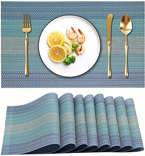 Amazon Com Candumy Blue Placemats For Kitchen Table Set Of 8 Heat Stain Non Skid Insulation Crossweave Woven Textilene Vinyl Pvc Washable Tablemats For Dinner Table Kitchen Dining
