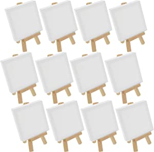 """U.S. Art Supply 3"""" x 3"""" Stretched Canvas with 5"""" Mini Natural Wood Display Easel Kit (Pack of 12), Artist Tripod Tabletop Holder Stand - Painting Party, Kids Crafts, Oil Acrylic Paints, Signs, Photos"""