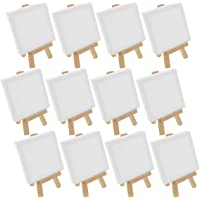 """US Art Supply Artists 3""""x3"""" Mini Canvas & 5"""" Mini Easel Set Painting Craft Drawing - Set Contains: 12 Mini Canvases & 12…"""