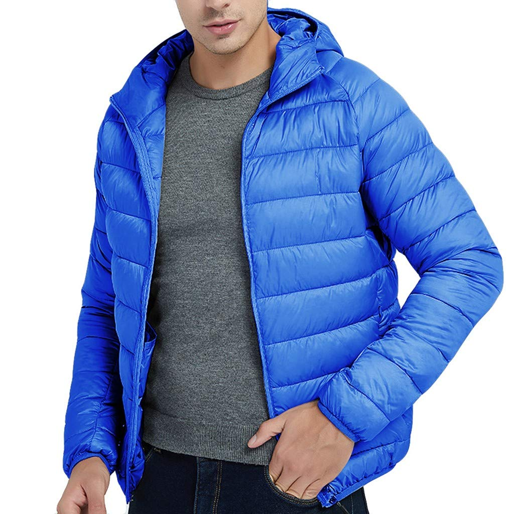 FEDULK Men's Lightweight Hooded Jacket Autumn Winter Warm Feather Down Cotton Coat Hoodies Outwear(Blue, Medium) by FEDULK