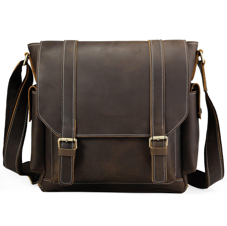Iswee Leather Crossbody Shoulder Bag Small Messenger Satchel Bag Work Business Travel Bag for Men (Dark Brown)