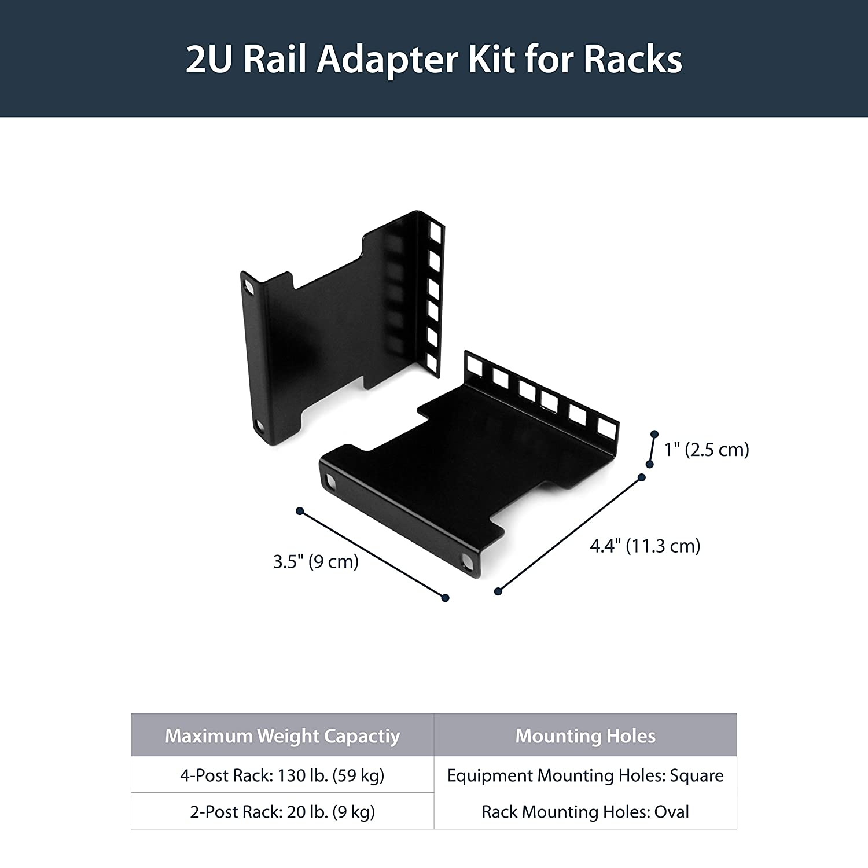 Server Rack Depth Extender - 2U - 4in / 10 cm - TAA Compliant - Recessed  Rack Adapter - Rack Mount Adapter Kit - Network Rack