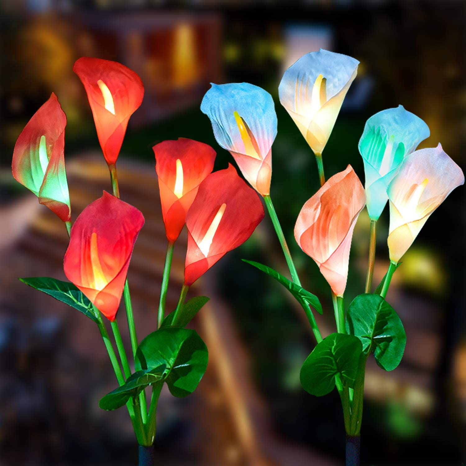 Purple and White 2 Pack Calla Lily LED Solar Flower Light with Multi-Color Changing LED Solar Decorative Lights for Garden Patio Doingart Outdoor Solar Garden Light Backyard