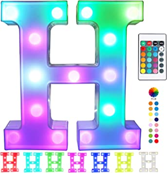 Pooqla Colorful LED Marquee Letter Lights with Remote – Light Up Marquee Signs – Party Bar Letters with Lights Decorations for The Home - Multicolor H
