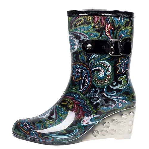 que buen look mejores zapatillas de deporte sitio de buena reputación YWLINK Botas De Lluvia Mujer Hunter Zapatos CuñA Botas De Lluvia Hebilla  con Cremallera Lateral Transparentes Zapatos De Goma Moda Casual ...