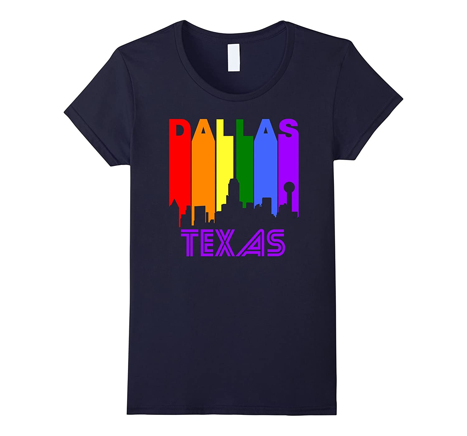 Dallas Texas LGBTQ Gay Pride Rainbow Skyline T-Shirt