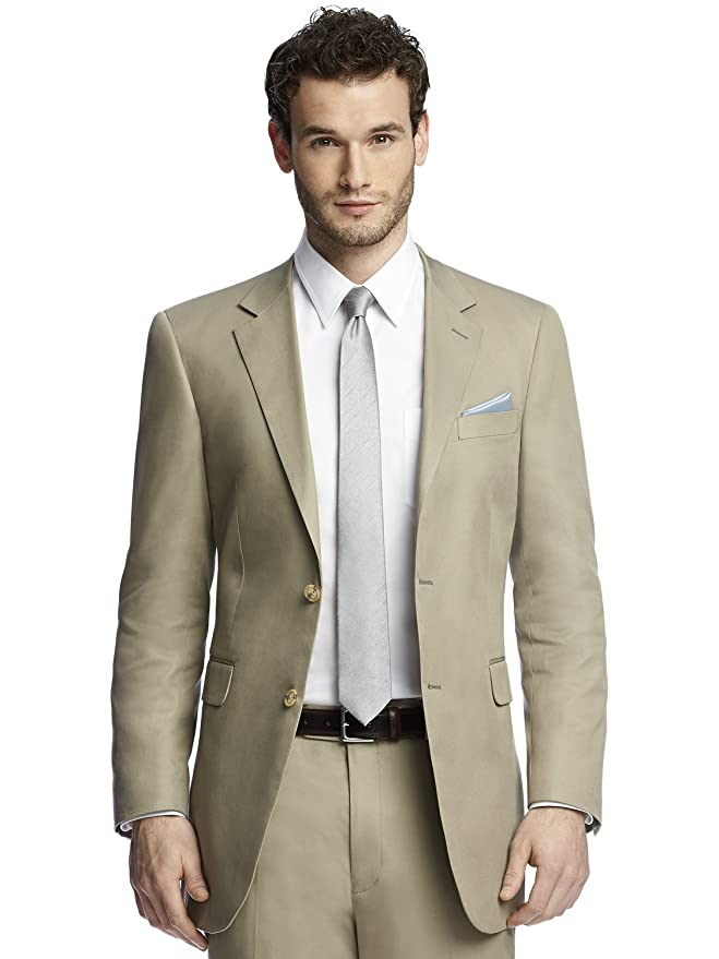Men's Classic Khaki Cotton Summer Suit Jacket by After Six from