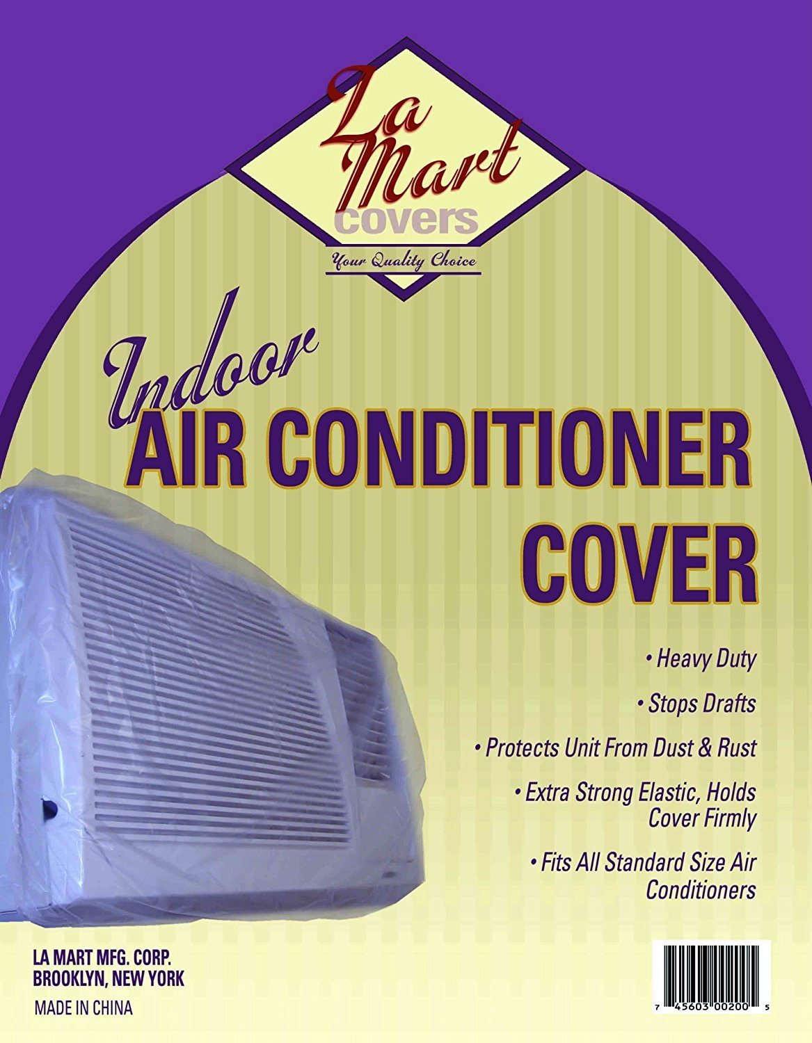 Indoor Vinyl Window Air Conditioner Cover w Elastic Edges (Clear Plastic) LA MART MFG AC0200