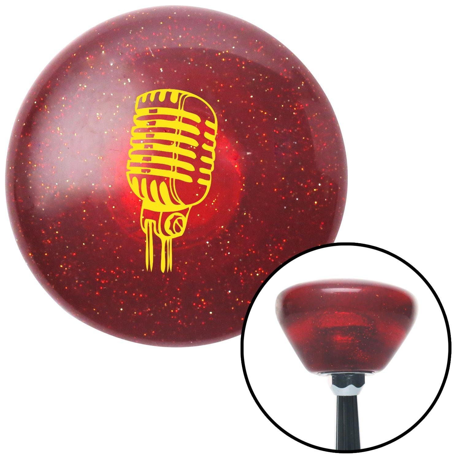 American Shifter 195288 Red Retro Metal Flake Shift Knob with M16 x 1.5 Insert Yellow Old School Microphone