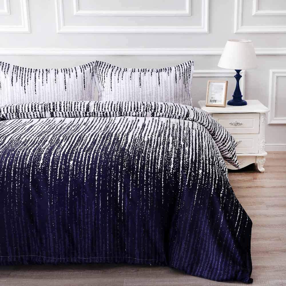 NANKO Queen Duvet Cover Set Purple Navy Blue Striped Art 3pc 90x90 Luxury Microfiber Quilt Bedding Cover with Zipper Closure, Ties - Best Modern Style for Men and Women