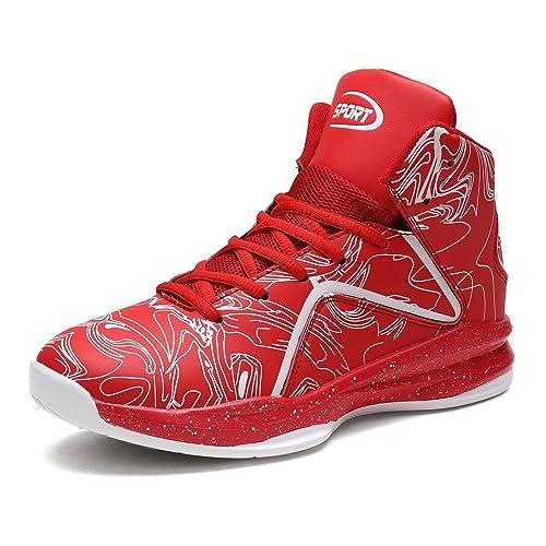 LANSEYAOJI Hombre Zapatillas de Baloncesto Calzado Deportivo Al Aire Libre Moda High-Top Sneaker Antideslizante Zapatillas de Deporte Ligeros Zapatos para ...