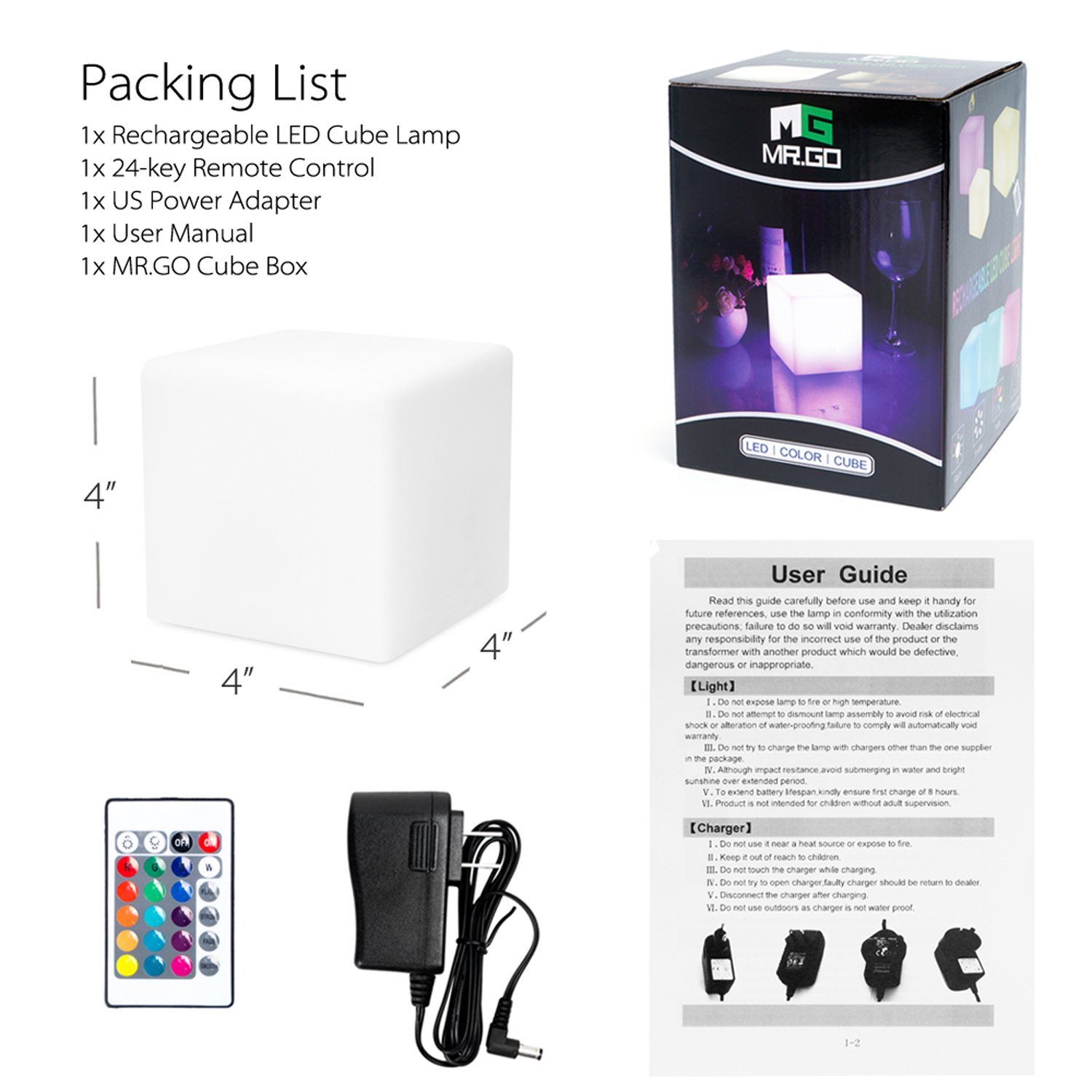 Mrgo 4 Inch Dimmable Led Night Light Mood Lamp For Kids And Adults High Power The Most Fun Waterproof Rgb Color Changing Cube At Inches It Is Perfect Size Little Hands To Easily Hold Carry Anywhere