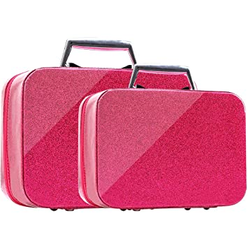 55aa926c172a BEAUBOMB Travel Makeup Case [2pcs/pack] Rose Red Glitter Cute Cases Box Set  Large&Small...