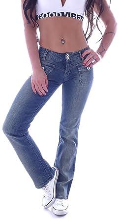 Style Station Damen Bootcut Jeans Schlaghose Hüftjeans Low