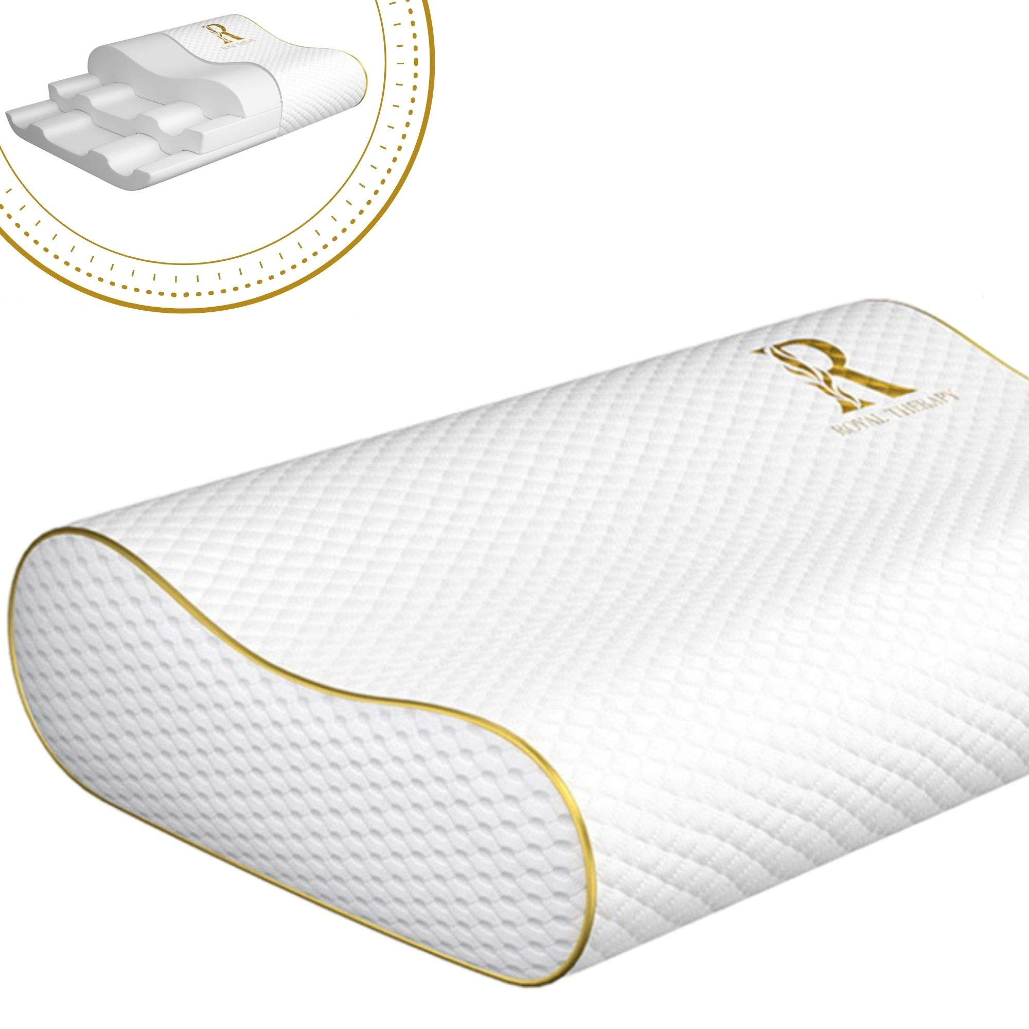 Royal Therapy Queen Memory Foam Pillow, Neck Pillow Bamboo Adjustable Side Sleeper Pillow for Neck & Shoulder, Support for Back, Stomach, Side Sleepers, Orthopedic Contour Pillow