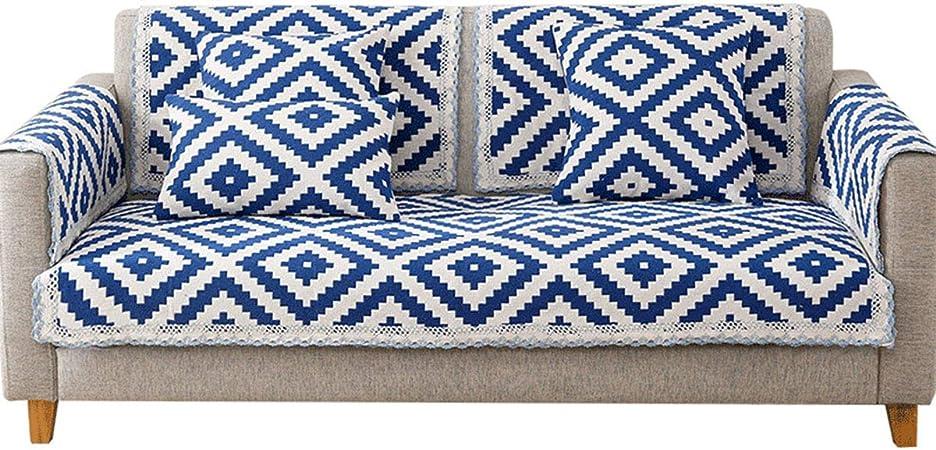 AILY Reversible Fundas de Sofá Chaise Longue para una combinación Tela de cáñamo de algodón Protector para Sofás Funda de Sofá de Dos plazas Sillón reclinable Apoyabrazos Cubierta,Azul,60 * 60cm: Amazon.es: Hogar