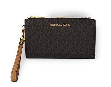 cd7d7f0d13c1 Amazon.com: Michael Kors Jet Set Travel double Zip Wristlet (Brown ...