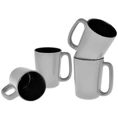 Culver SLAT Ceramic Mug, 16-Ounce, Grey Black, Set of 4