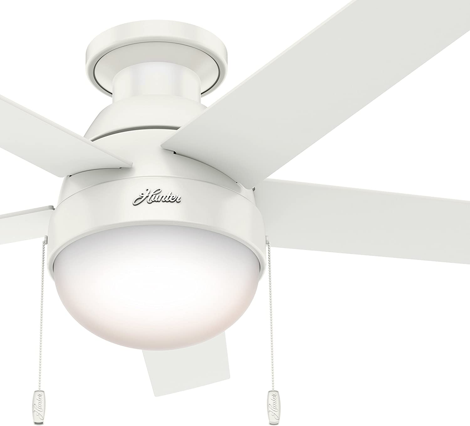Hunter Fan 46 inch Contemporary Ceiling Fan with Light in Premier Bronze Renewed Fresh White
