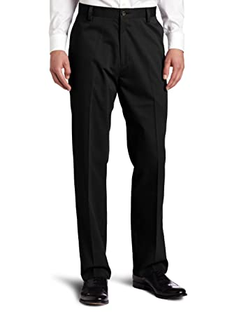 Dockers Men's Easy Khaki D3 Classic-Fit Flat-Front Pant, Black, 30W
