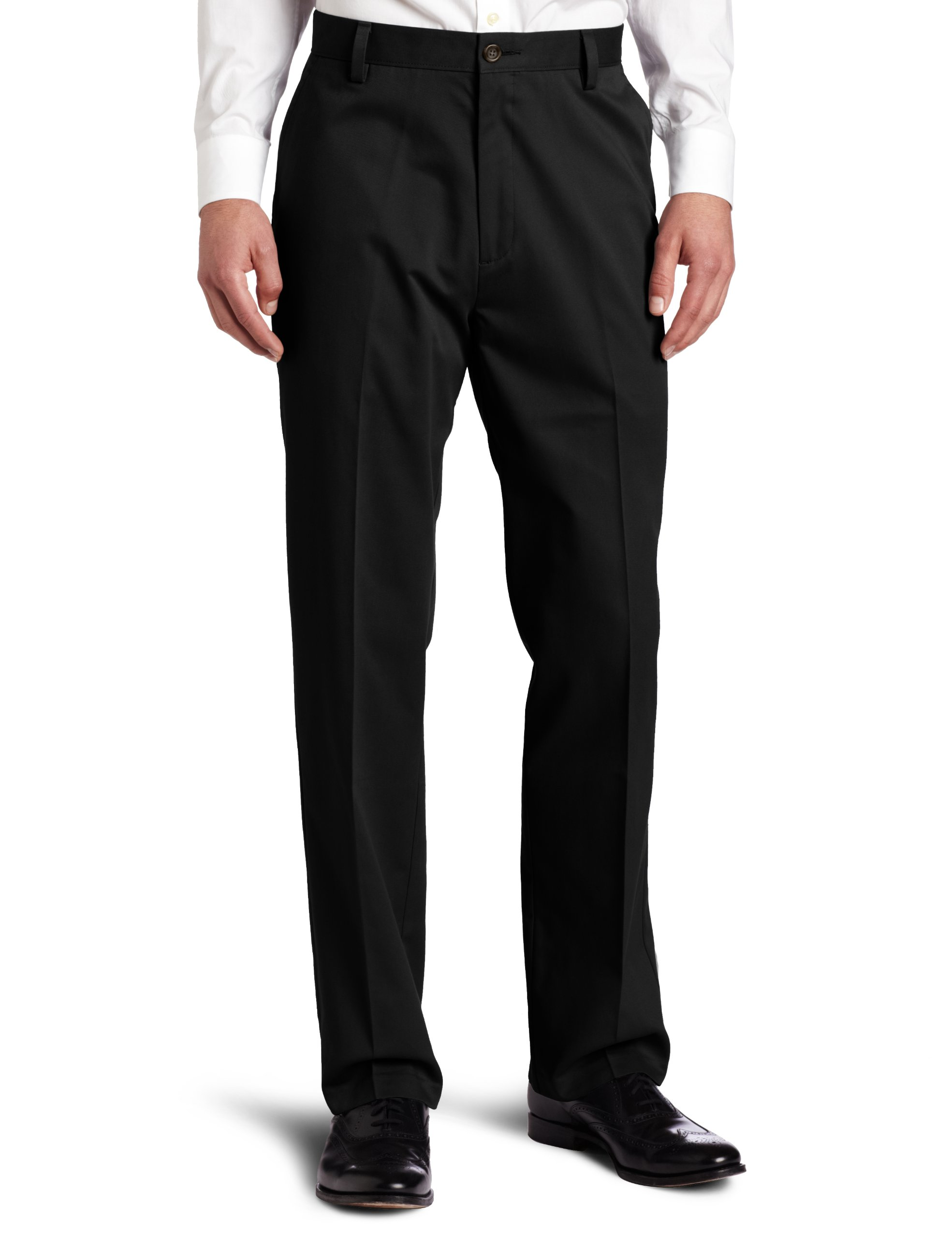 Dockers Men's Easy Khaki D3 Classic-Fit Flat-Front Pant, Black, 34W x 32L by Dockers