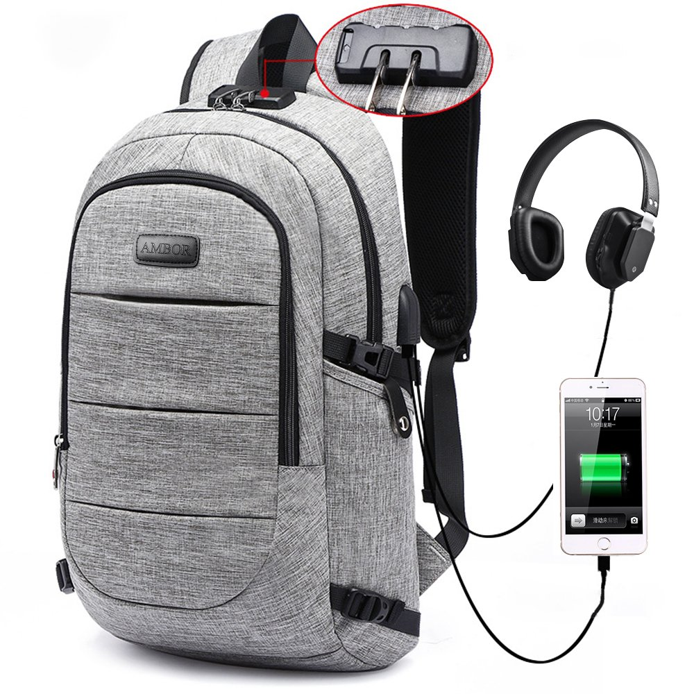 Travel Laptop Backpack,AMBOR Anti-Theft Business Laptop Backpack with USB Charging Port & Headphone Interface, Slim Durable College School Computer Bag for Men Women Fits 15.6 Inch Laptop and Notebook