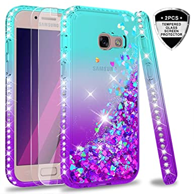 low priced 5828c dc314 LeYi Galaxy A3 2017 Case with Screen Protector, Girl Women 3D Glitter  Liquid Cute Personalised Clear Transparent Silicone Gel Shockproof Phone  Cover ...
