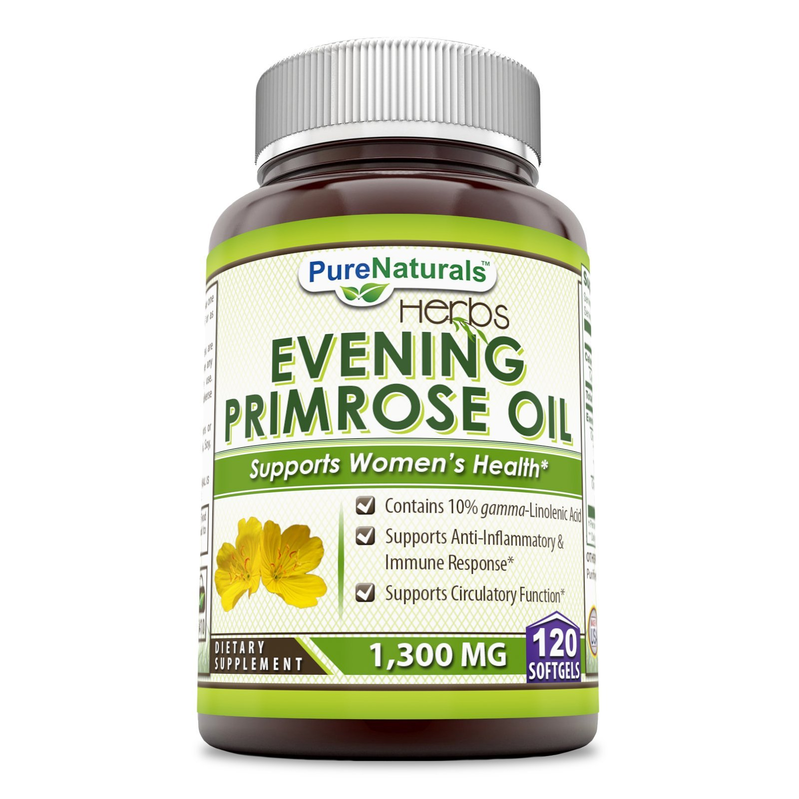 Pure Naturals Evening Primrose Oil with 10% GLA, 1300 mg, 120 Softgels