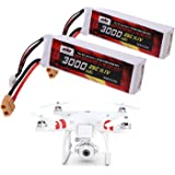 2 Pack 25C 3S 3000mAh 11.1V LiPo Battery (XT60 Plug Connector) for DJI Phantom 1 FC40 DJI Flame Wheel F450 F550 FPV Quadcopter and Other Toy RC Vehicles