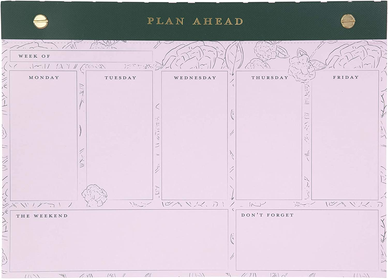 Cute Women's Desktop Weekly Planner Notepad, Undated Personal Organizer for Daily to Do Lists/Schedules, 52 Non-Dated Tear-Off Sheets for a Complete Year of Planning, Plan Ahead (Dot Stripes)