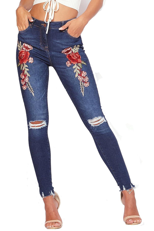 802b7d8ee6 TieNew Mujer Pantalones Jeans Skinny Rotos Flacos Vaqueros Azul Cintura  Alta