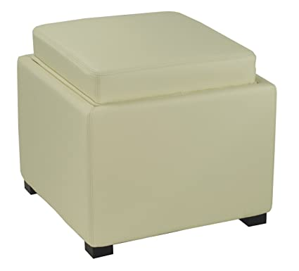 Swell Safavieh Hudson Collection Kaylee Leather Single Tray Square Storage Ottoman Off White Beatyapartments Chair Design Images Beatyapartmentscom