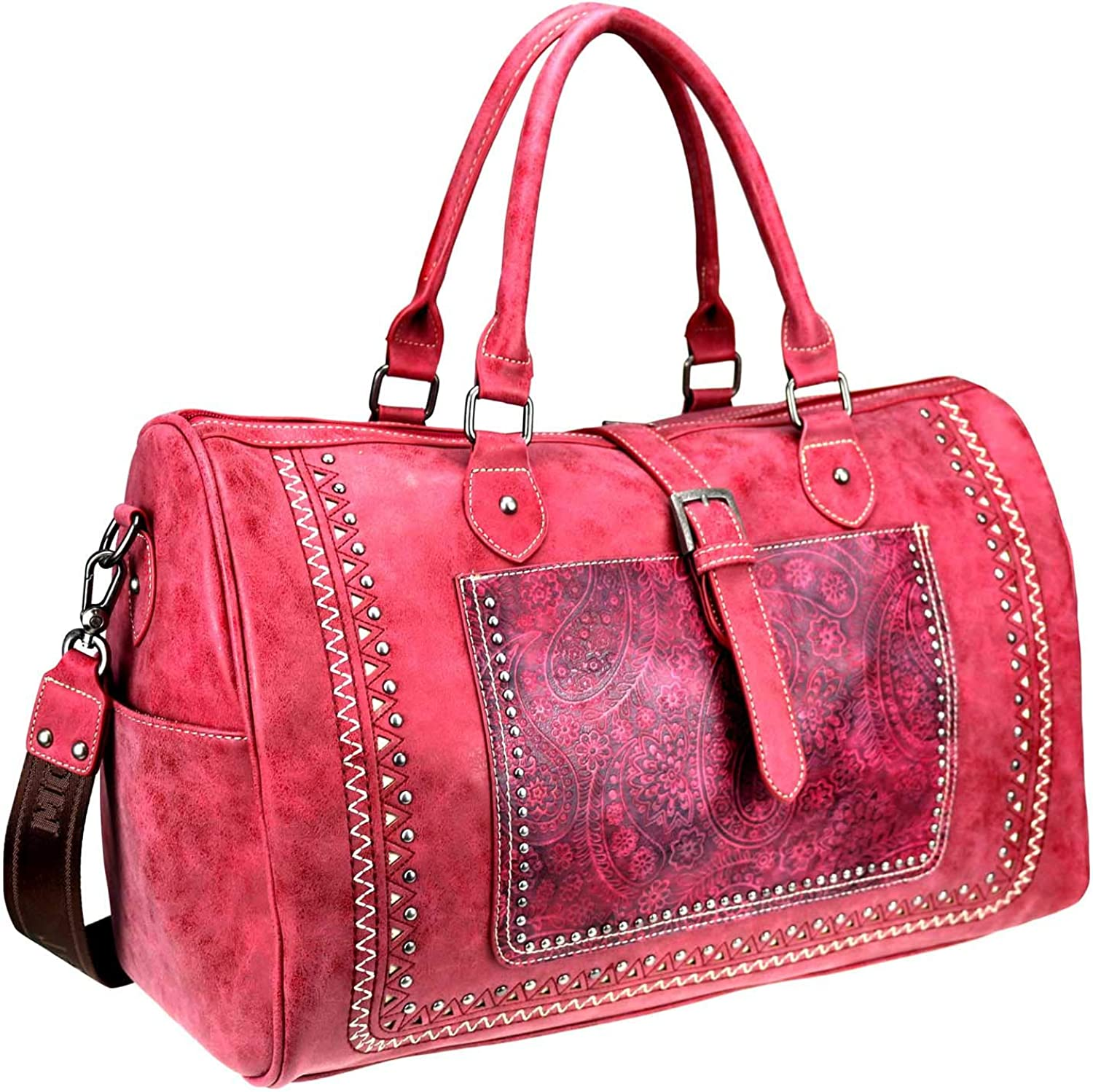 Montana West Buckle Leather Travel Duffle Bags Western Aztec Sugar Skull Sport Gym Bag For Women Red MW 947-5110 RD
