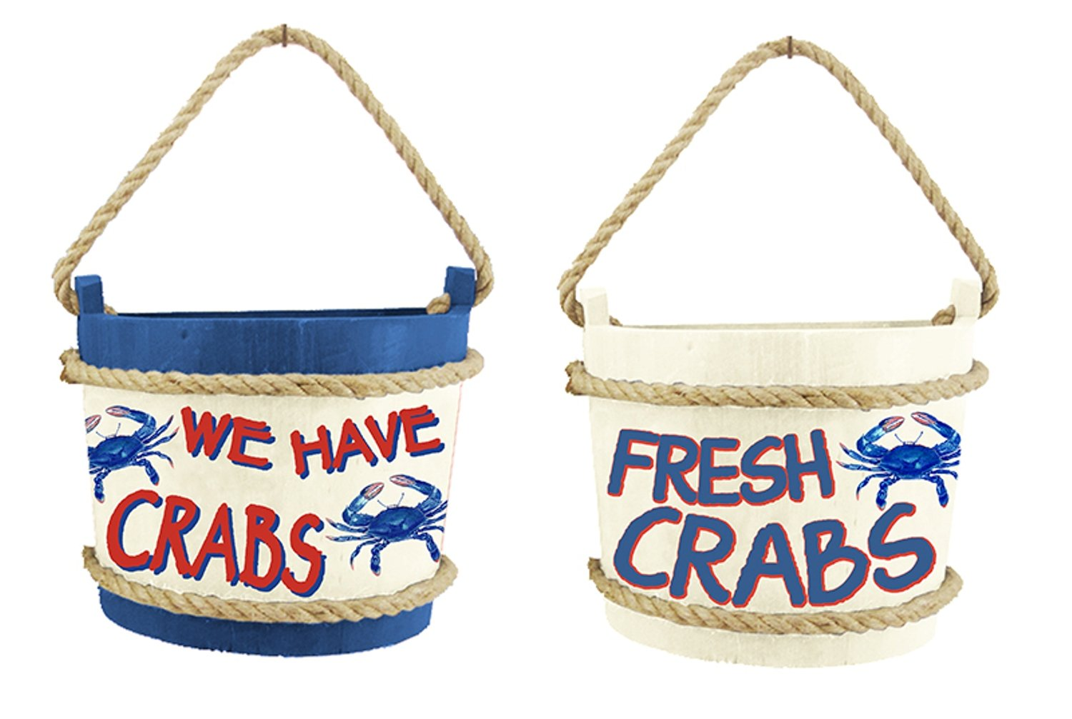 Chesapeake Bay We Have Crabs and Fresh Crabs Wood Buckets 8 Inches Set of 2