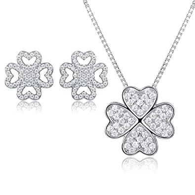 JiangXin Lucky Four Leaf Clover 925 Sterling Silver Jewellery Set dFaou33