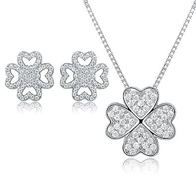 JiangXin Lucky Four Leaf Clover 925 Sterling Silver Jewellery Set swpuaq