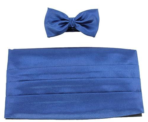 Knightsbridge Neckwear Corbata azul Pajarita y Conjunto faja ...