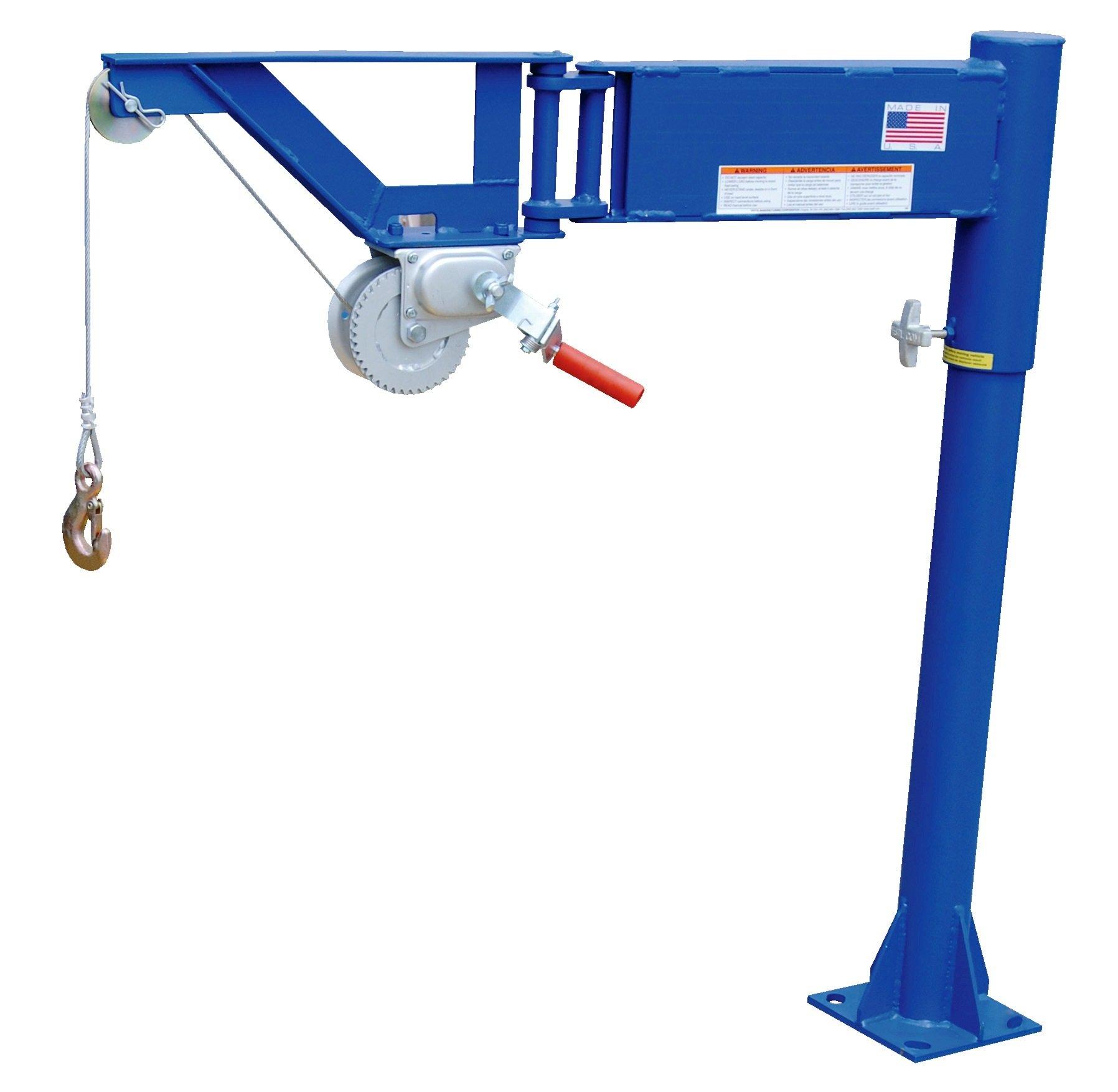 Vestil VAN-J Van Mount Manual Jib Lifter, Steel, 400 lb. Capacity, 10' Cable Length, 46-1/16'' Height