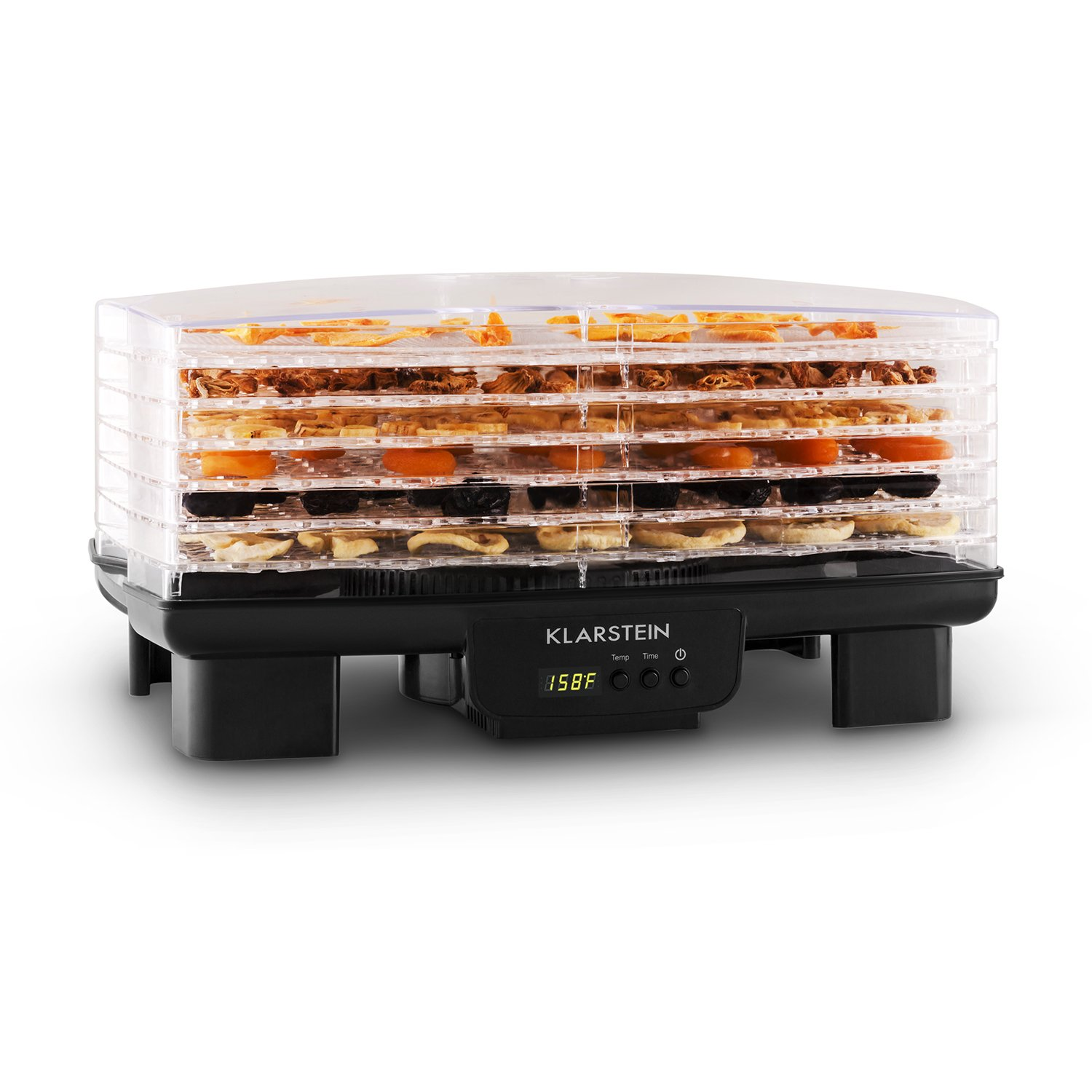 KLARSTEIN Bananarama Fruit Dryer • Dehydrator • 550W • 6 Levels • 2 Stacking Modes • Adjustable Temperature • LCD-Display • Timer • Fast and Healthy Drying Process • For a Variety of Foods • Black