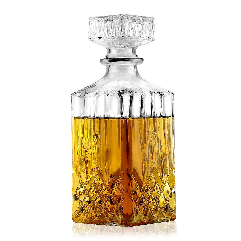 Tequila Decanter, Liquor Decanter for Whiskey Vodka Bourbon Gin Rum Port Wine (750ml)