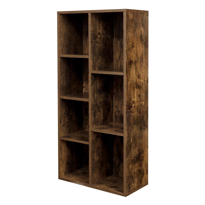 VASAGLE Libreria a 7 Scomparti Marrone Vintage LBC27BX Portaoggetti L x P x A 50 x 24 x 106 cm Scaffale a 7 Cubi Aperti in Studio e Ufficio