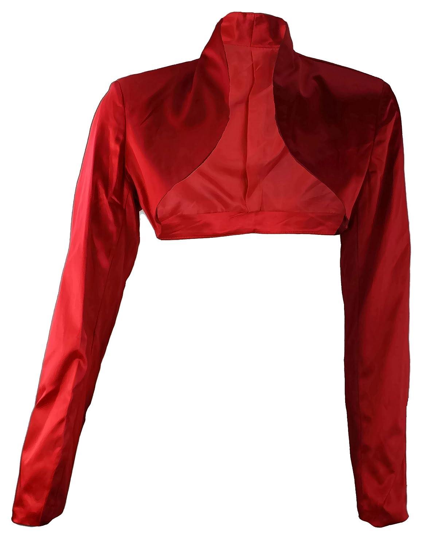 #903 Damen Luxus Satin Bolero Langarm Schwarz Farben 34 36 38 40 42 44