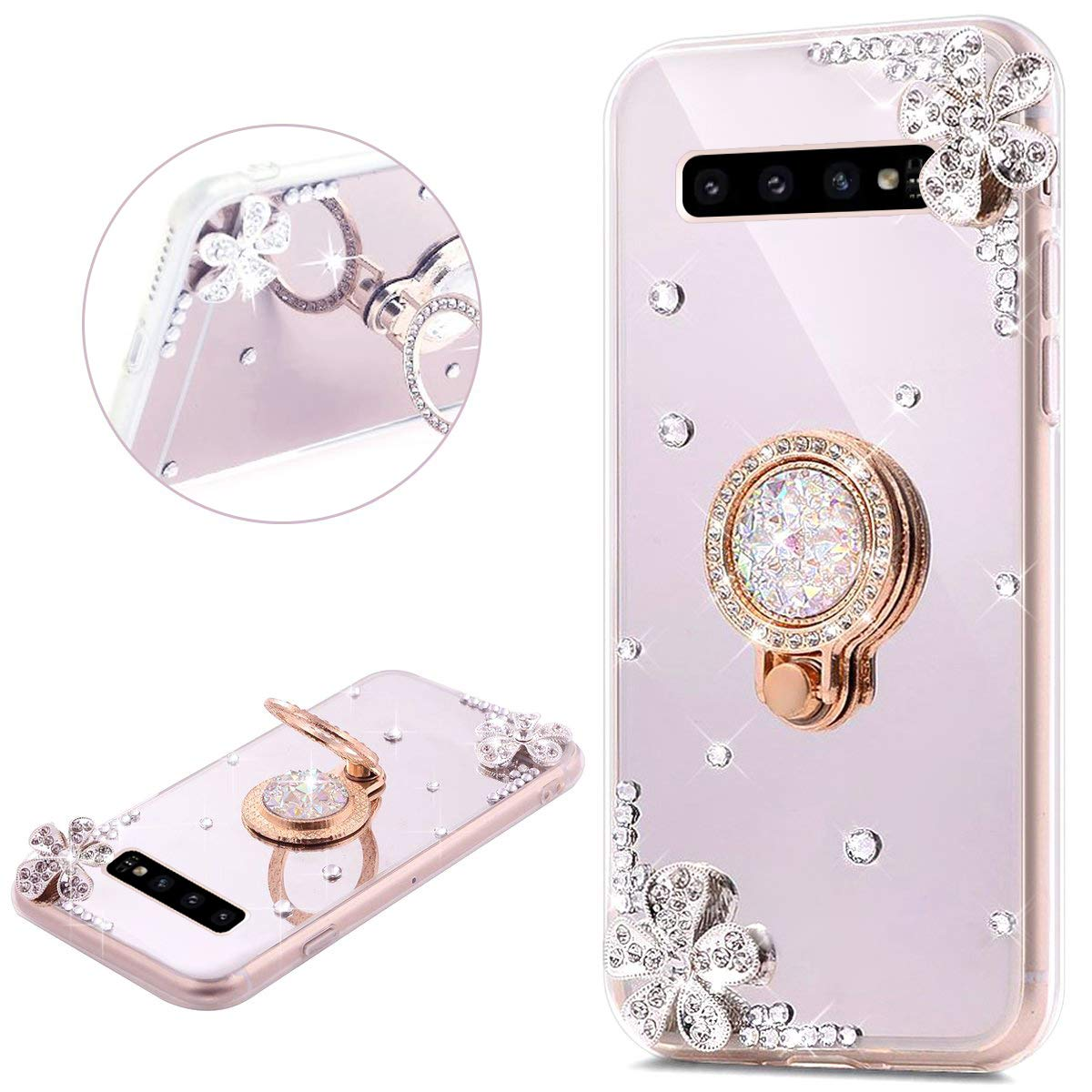 PHEZEN Compatible with Samsung Galaxy S10 Plus Case Crystal Rhinestone Soft TPU Rubber Bumper Case Bling Diamond Glitter Makeup Mirror Back Case with Ring Stand Holder for Galaxy S10 Plus,Silver