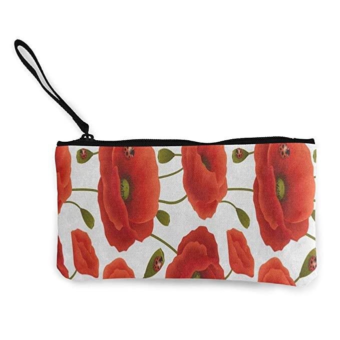 8e71b115172298 Amazon.com  Canvas Coin Purse Beautiful Red Poppy Flower Customs ...