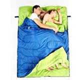 Hewolf Camping Sleeping Bag Cold Weather Double Sleeping Bag Adult Envelope Flannel Sleeping Bag Waterproof Lightweight Extra Large Camping Quilt Portable Camping Gear Equipment with Compression Sack