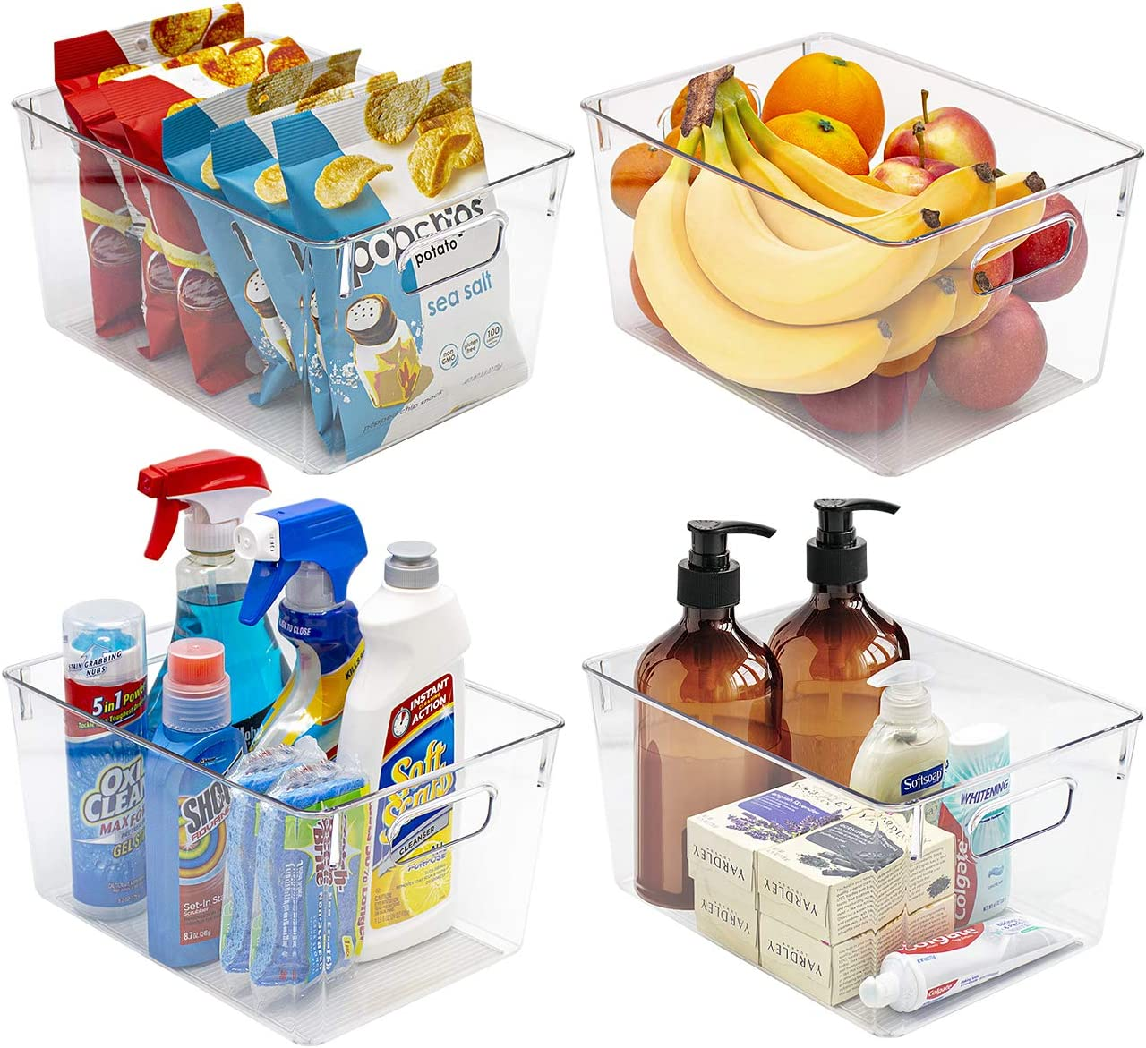 Sorbus Plastic Storage Bins Clear Pantry Organizer Box Bin Containers for Organizing Kitchen Fridge, Food, Snack Pantry Cabinet, Fruit, Vegetables, Bathroom Supplies (4-Pack)