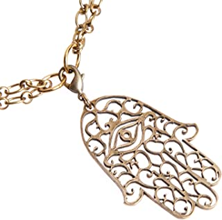 """product image for Large Hamsa Peace Bronze Pendant Necklace on 18-36"""" Antiqued Brass Cable Chain"""
