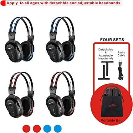 Amazon Com Simolio 4 Pack Of Dvd Wireless Headphones In Car Kids Wireless Headphones For Universal Car Entertainment System Automotive Ir Wireless Headphones Note Will Not Work On 2017 Gm S Or Pacifica Home