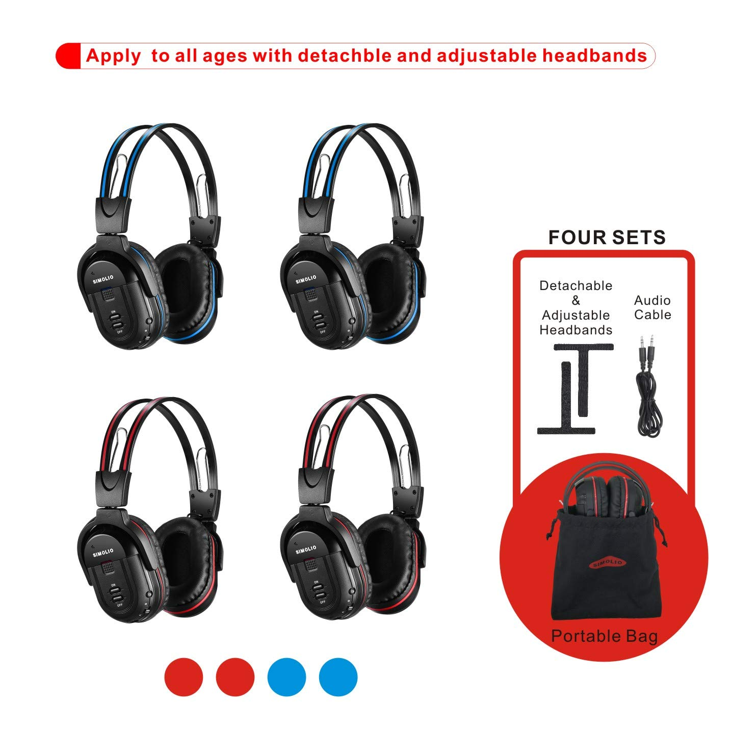 4 Pack of DVD Wireless Headphones, Car Kids Headphones, IR Headphones for Car Entertainment System, Wireless IR Headphones with Dual Channel by SIMOLIO