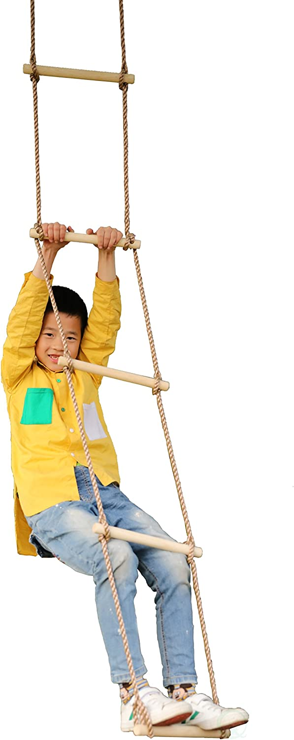 PLAYBERG 5 Step Climbing Wooden Rope Ladder